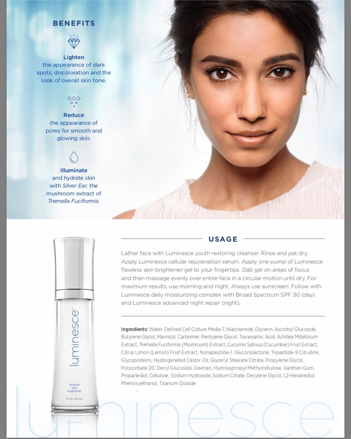 Luminesce Flawless Skin Brightener Ingredients