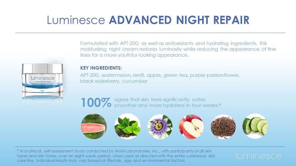 Luminesce Night Repair Skin Cream Jeunesse Ageless Canada